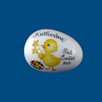 *Personalized Hand Painted Easter Egg - Baby Chick w Egg*