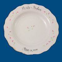 Personalized Hand Painted Porcelain Scalloped Pasta Bowl