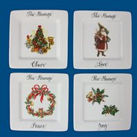 Personalized Hand Painted Porcelain  Square Appetizer/Dessert Holiday Plates*-dessert plate, appetizer, plates, appetizer plates, dishes, porcelain,personalized plates, custom plates, christmas gift, christmas gifts, christmas gift ideas