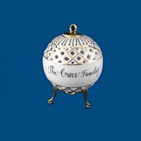 Personalized Hand Painted Porcelain Christmas Ball Ornament - Gold Trim