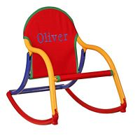 Embroidered Primary Canvas Rocking Chair-rocking chair, baby rocking chair, childrens rocking chair, poutdoor rocking chair. the rocking chair, rocking chair rockers, personalized chairs, baby gift