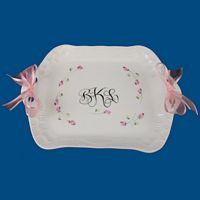 Personalized Hand Painted Porcelain Dresser Tray with Ribbons*