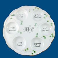 Personalized Hand Painted Porcelain Passover Seder Plate*-seder plate, passover, hand painted, personalized gift, wedding gift, judaica