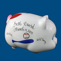 Personalized Hand Painted Porcelain Piggy Bank with Sports*