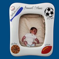 Personalized Hand Painted  Porcelain Baby Picture Frame with Sports*