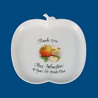 Personalized Hand Painted Porcelain Apple Plate-apple plate, teacher gift, teacher gifts, end of year gift, gifts for teacher, hand painted teacher gift, hand painted, personalized gift, personalized teacher gift, for my teacher, teacher ideas