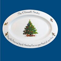 Personalized Hand Painted Porcelain Christmas Platter with Tree Design