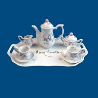 Personalized Hand Painted Porcelain Mini Tea Set w Rosebuds