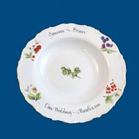 Personalized Hand Painted Porcelain Scalloped Serving Bowl with Floral Design
