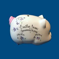 Personalized Hand Painted  Piggy Bank with Lavender Flowers*