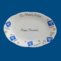 Personalized Hand Painted Porcelain Chanukah Platter*-Chanukah, hanukah, hanukkah, holiday gifts, personalized gifts, chanukah gifts, hanukkah gifts, hanukah gifts, menorah, Jewish gifts, porcelain