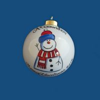 Personalized  Hand Painted Porcelain Christmas Ball w/ Whimsy Snowman