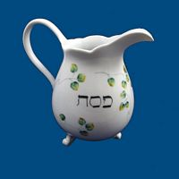 Personalized Hand Painted Porcelain Passover Cocktail Pitcher*-cocktail pitcher, pitcher, hand painted pitcher, drinks, cocktails, personalized pitcher, bar acessories, wedding gifts, anniversary gift, bridal gift, birthday gift, cocktail party, dinnerware. porcelain