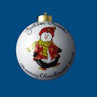 Personalized Hand Painted Porcelain Christmas Ball w/ Penguin