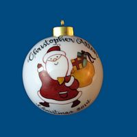 Personalized Hand Painted PorcelainChristmas Ball w/ Whimsical  Santa