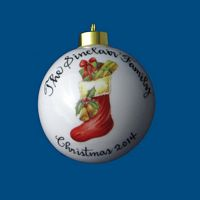 Personalized Hand Painted Christmas Ball  w/ Stocking
