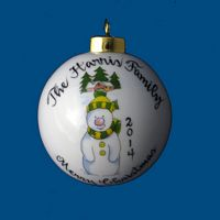 Personalized Hand Painted Porcelain Christmas Ball w/ Snowman