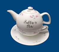 "Hand Painted Personalized Porcelain ""Tea for One"""