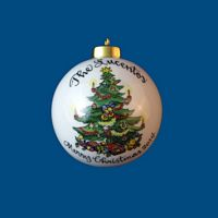 Personalized Hand Painted Porcelain Christmas Ball w/ Tree