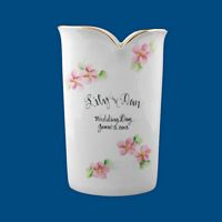 Personalized Hand Painted Porcelain Vase-wedding gift, vase, perosnalized vase, bridal gift, bridal shoer gift, personalized wedding gift, unique wedding gift, porcelain vase, porcelain gift, for the bride, special bridal gifts