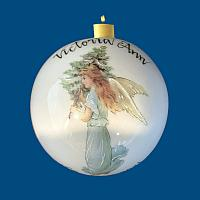 *New Design* Personalized Hand Painted Porcelain Christmas Ball with Blue Fairy