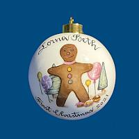 *New Design* Personalized Hand Painted Porcelain Christmas Ball with Gingerbread Boy