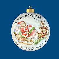 *New Design* Personalized Hand Painted Porcelain Christmas Ball with Santa Bear Sleigh Scene