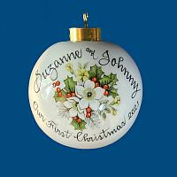 Personalized Hand Painted Porcelain Christmas Ball with White Rose and Holly