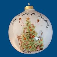 *New Design* Oversized Personalized Hand Painted Porcelain Christmas Ball with Christmas Animal and Tree Design