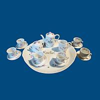 *New*Personalized Hand Painted Porcelain Mini Tea Set w Rosebuds (Six Teacups)