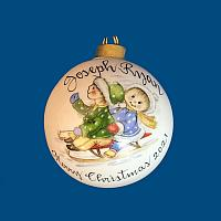 *New Design* Personalized Hand Painted Porcelain Christmas Ball with Kids on Sled